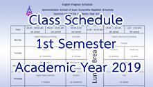 Class Schedule 1st Semester Academic Year 2019
