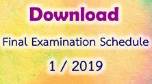 Final Examination Schedule 1/2019