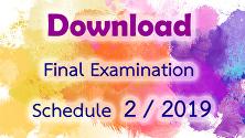 Final Examination Schedule 2/2019