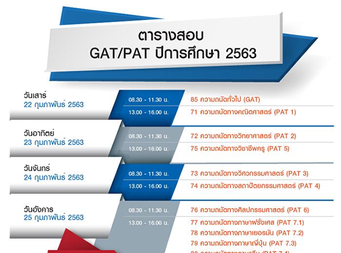 นักเรียนระดับชั้น ม.6 สอบ GAT PAT