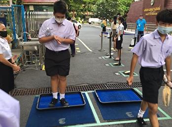 ผังการคัดกรองนักเรียนก่อนเข้าโรงเรียน และบรรยากาศการมาโรงเรียนของนักเรียน