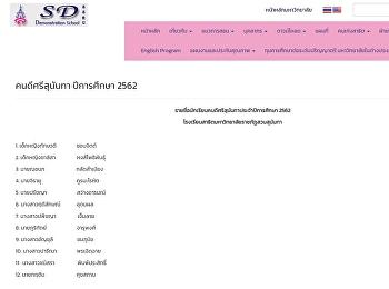 รายชื่อนักเรียนคนดีศรีสุนันทาประจำปีการศึกษา 2562