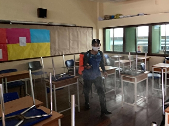 Building Department Suan Sunandha Rajabhat University spraying disinfectant in the school area